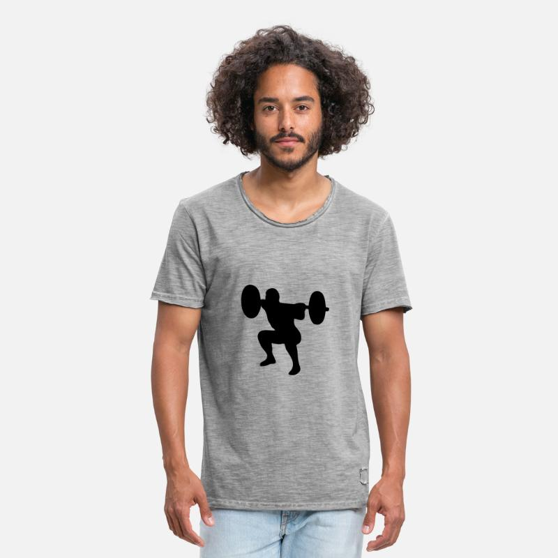 Body Building T-Shirts - Weightlifter, weightlifting - Men's Vintage T-Shirt vintage gray