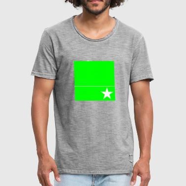 Rectangle Lines green rectangle with line and star - Men's Vintage T-Shirt