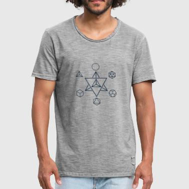 Platonic Solids Merkaba and the Platonic Solids, Sacred Geometry - Men's Vintage T-Shirt
