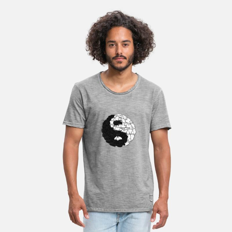 Black And White Collection T-Shirts - Yin Yang Schafe - Männer Vintage T-Shirt vintage Grau