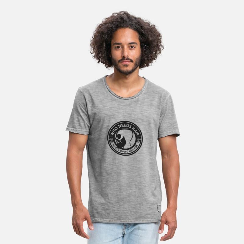 Bearded Collie T-Shirts - who needs hair with a beard like this - Mannen vintage T-shirt vintage grijs