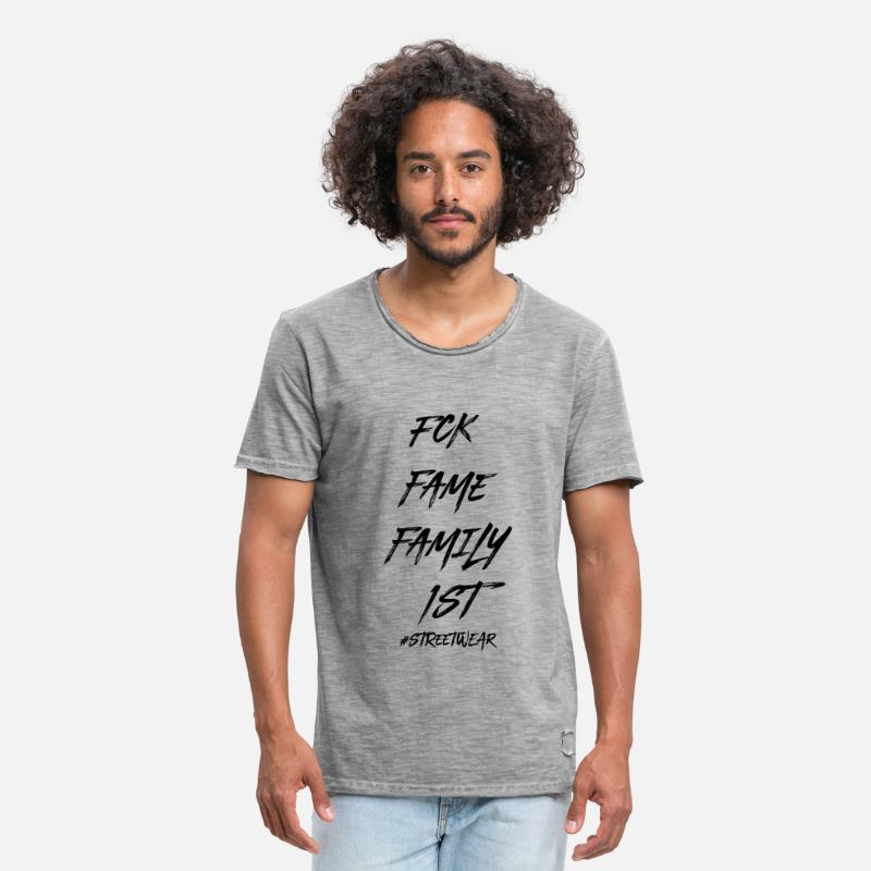 Rap T-Shirts - FUCK FAME FAMILY FIRST - Men's Vintage T-Shirt vintage gray