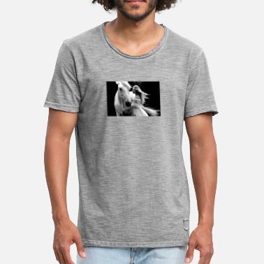 Schwarz Weiß Pferde Pferd Maedchen schwarz-weiß - Männer Vintage T-Shirt ac4519fdc3