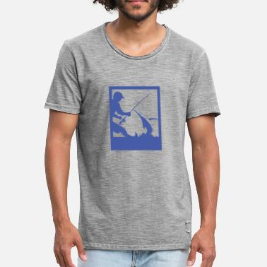 Swordfish Angler with swordfish in blue - Men's Vintage T-Shirt