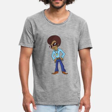 Afro-look Personnage de dessin animé disco funky avec afro et lunettes de  soleil -. T-shirt vintage Homme 2872b3133557
