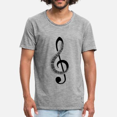 Keyboard Music Note Clef Piano Piano Keyboard - Mannen Vintage T-shirt