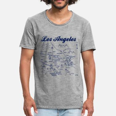 Schland Los Angeles Map Old Graphic - Men's Vintage T-Shirt