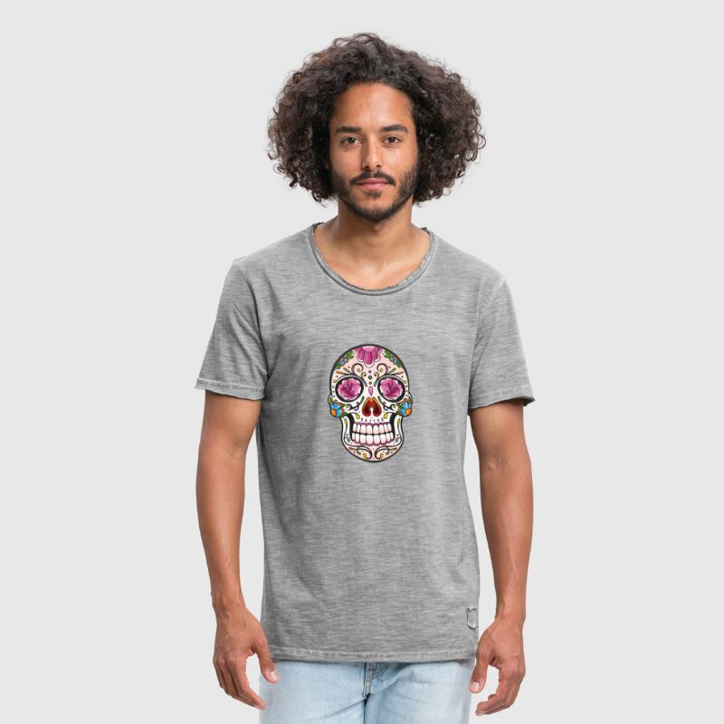 Mexican Sugar Skull, day of the dead - Männer Vintage T-Shirt