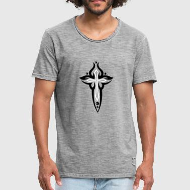 Cross, Crucifix, with pearls. - Men's Vintage T-Shirt