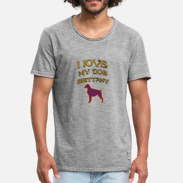 I Love Brittany I LOVE MY DOG Brittany - Men's Vintage T-Shirt