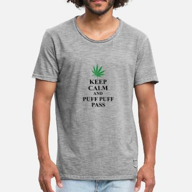 Puff Sprüche Keep calm and puff puff pass - Männer Vintage T-Shirt