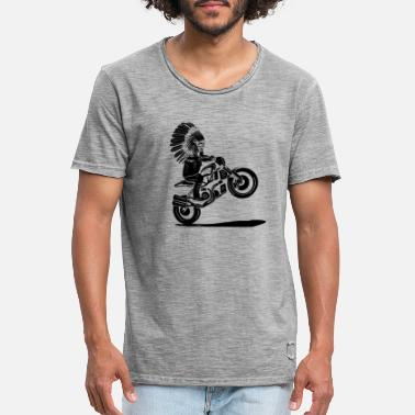 Chief Indian chief on a motorcycle - Men's Vintage T-Shirt