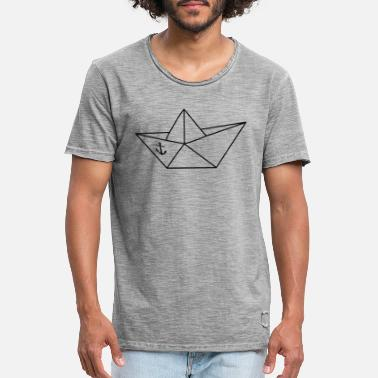 Paper boat paper boat sailboat folding origami - Men's Vintage T-Shirt