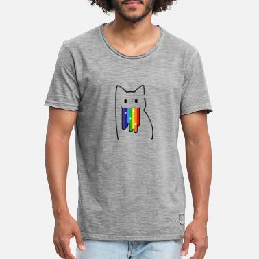 Nyan Cat For Geeks: Nyan Cat, Pop-Tart Cat, Rainbow Colors - Men's Vintage T-Shirt