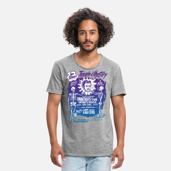 Cool T-shirts - Vintage Halloween Spook Show Temple of Mystery - Mannen vintage T-shirt vintage grijs
