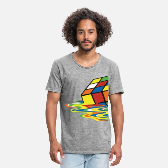 Geek T-shirts - Rubik's Cube Melted Colourful Puddle - Mannen vintage T-shirt vintage grijs