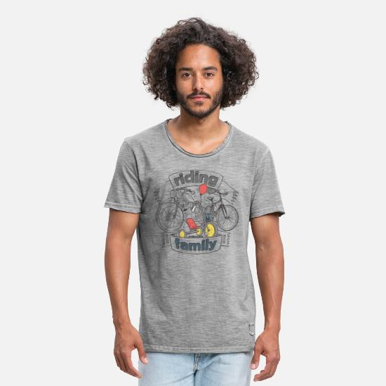 Collection De Autos Et De Motos T-shirts - Riding family - T-shirt vintage Homme vintage gris