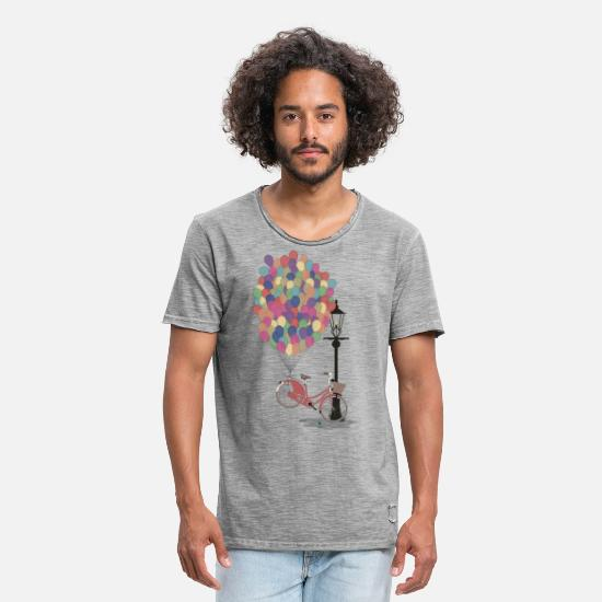 Vintage T-shirts - Love to Ride my Bike with Balloons - T-shirt vintage Homme vintage gris
