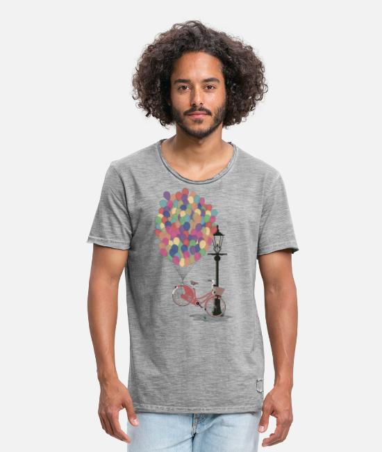 Bikes T-shirts - Love to Ride my Bike with Balloons - T-shirt vintage Homme vintage gris