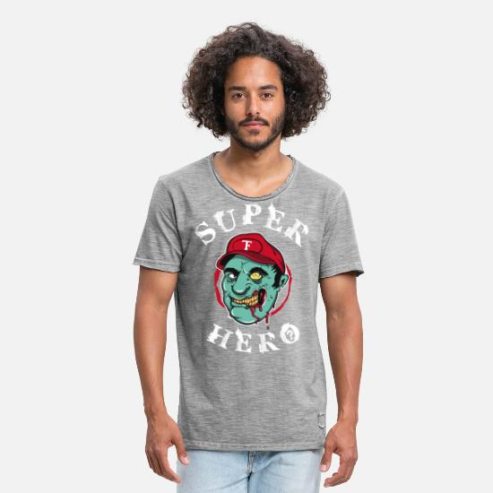 Gaming T-Shirts - Superhero zombie - Men's Vintage T-Shirt vintage gray