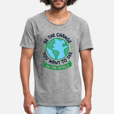 Climate Change Cool Earth Day Design Be the Change - Men's Vintage T-Shirt