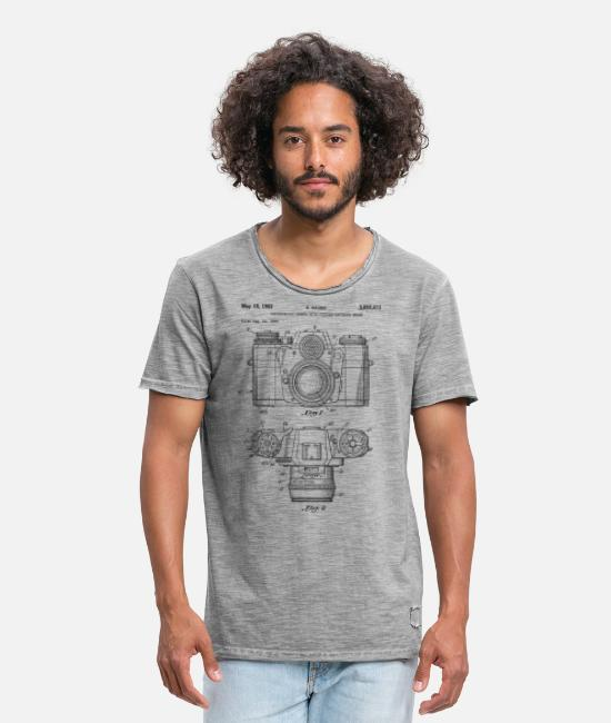 Leica T-shirts - Vintage camera - drawing of an old camera - Mannen vintage T-shirt vintage grijs