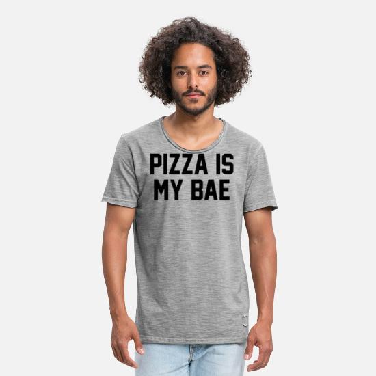 Turin T-Shirts - Pizza Quote Pizza Is My Bae - Men's Vintage T-Shirt vintage gray