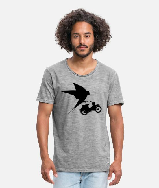 Motorcycle T-Shirts - Two swallow - Men's Vintage T-Shirt vintage grey