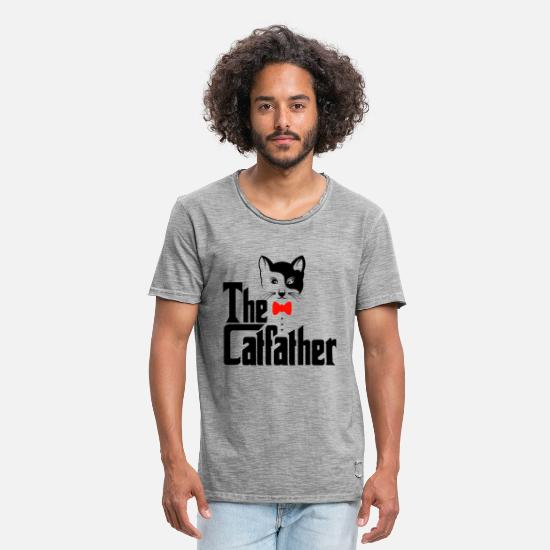 Dad T-shirts - The Catfather Cats Shirt - Vintage T-shirt herr vintagegrå