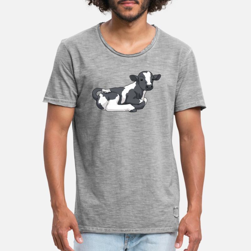 Kukalv med svarte flekker Premium T skjorte for menn