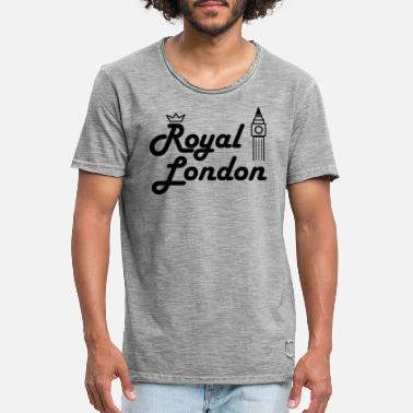 Royal London Logo With Crown And Big Ben Balck - Men's Vintage T-Shirt