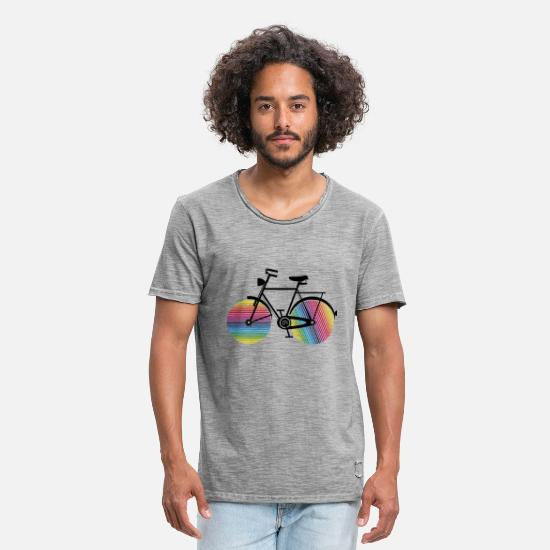 Cycling T-Shirts - Bicycle with rainbow wheels - Men's Vintage T-Shirt vintage gray