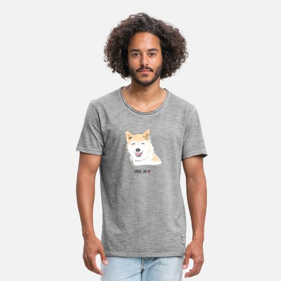 Cute Dog T-Shirts - Shiba Inu - Men's Vintage T-Shirt vintage grey