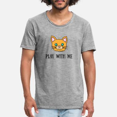 Chat Orange Play With Me - T-shirt vintage Homme