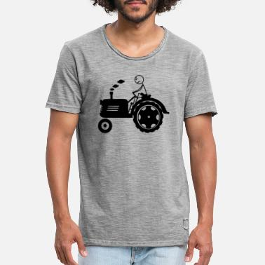 Bambino Farm tractor for farmer or child with stickmen - Men's Vintage T-Shirt