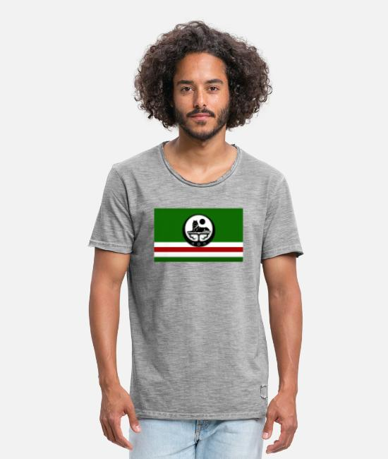 Style Islam T-Shirts - Chechen flag - Men's Vintage T-Shirt vintage grey