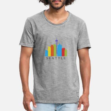 Seattle Skyline van Seattle - Mannen vintage T-shirt