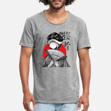 Traditional Geisha with Fan - Horror (hand drawing) - Men's Vintage T-Shirt