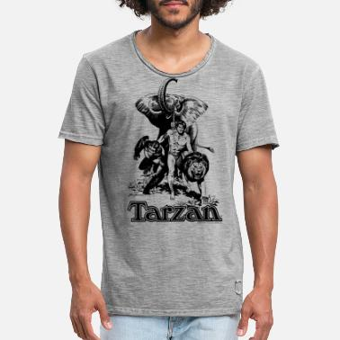 Tarzan with elephant, lion and apes - Men's Vintage T-Shirt