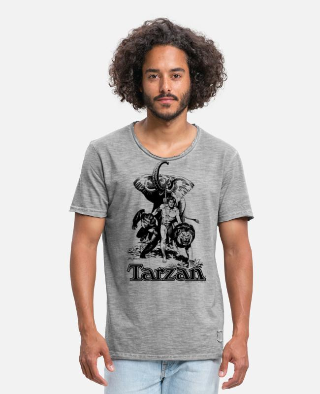 Friendship T-Shirts - Tarzan with elephant, lion and apes - Men's Vintage T-Shirt vintage grey