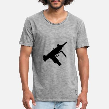 Machine gun Uzi, pistol, weapon, weapons, machine - Men's Vintage T-Shirt