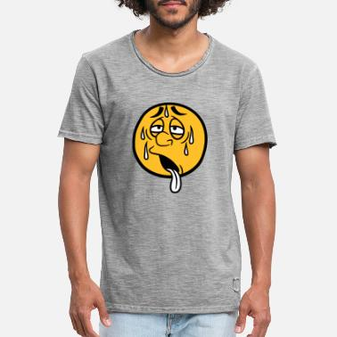 Zweet gezicht cartoon cartoon cirkel ronde uitgeputte zon - Mannen vintage T-shirt