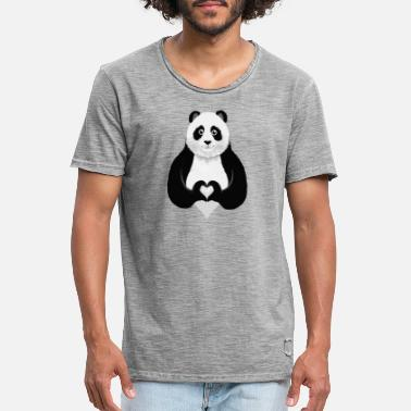 Collections Cute Panda Heart Hand Sign - Maglietta vintage uomo