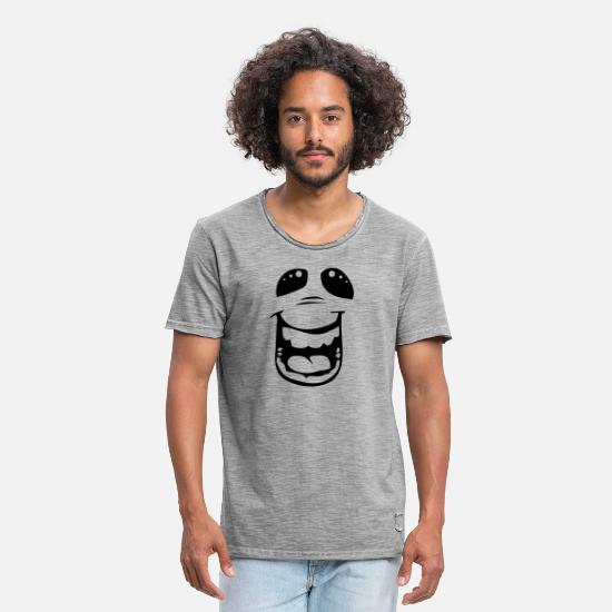 Gezicht T-shirts - Funny emotion - laughing out loud - Mannen vintage T-shirt vintage grijs