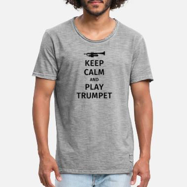 Trompet keep calm and play trumpet - Vintage T-shirt mænd