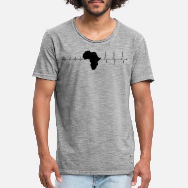 af4d6b5ffa4cb Afrika Heartbeat Afrika - Herzschlag Africa - Männer Vintage T-Shirt