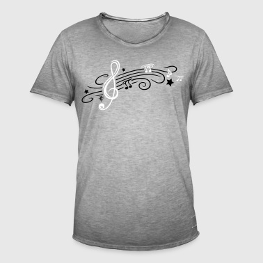 Music, clef with stars and music notes - Men's Vintage T-Shirt