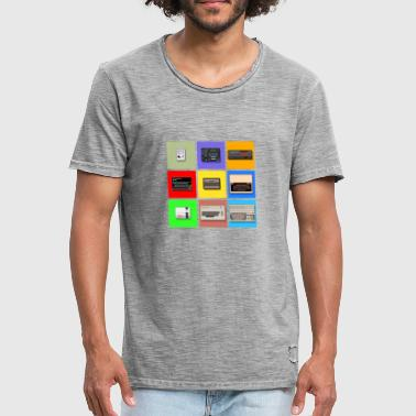 Pixel Retro Gaming Machines Squares - Men's Vintage T-Shirt