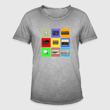 Pixel Retro Gaming Machines Squares - Männer Vintage T-Shirt