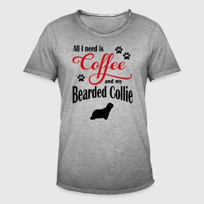 Bearded Collie Coffee - Vintage-T-shirt herr